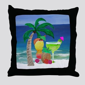 Tropical Drinks on the beach Throw Pillow